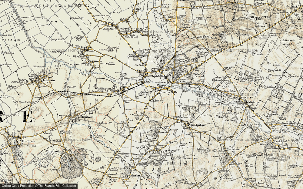 Old Map of Barton Mills, 1901 in 1901