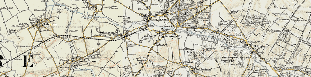 Old map of Barton Mills in 1901