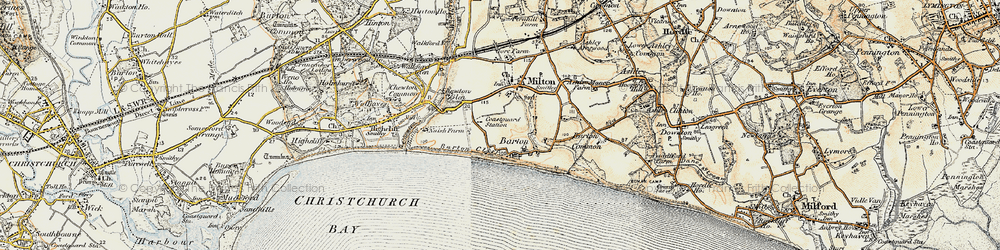 Old map of Barton on Sea in 1899-1909