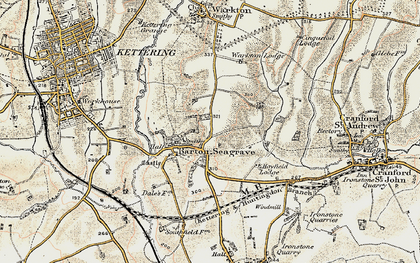 Old map of Barton Seagrave in 1901-1902