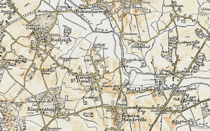 Old map of Barton St David in 1899