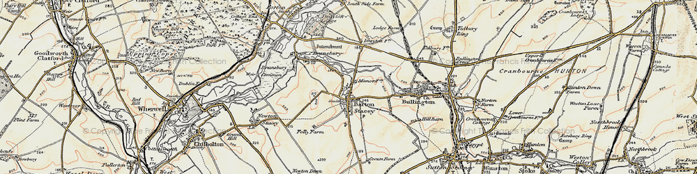 Old map of Tidbury Common in 1897-1900