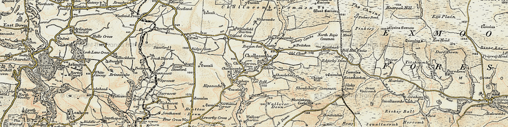 Old map of Barton Town in 1900