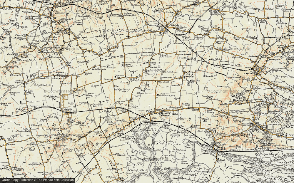 Old Map of Basildon, 1898 in 1898