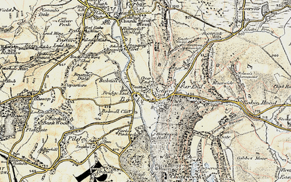 Old map of Baslow in 1902-1903
