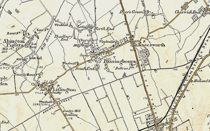 Old map of Bassingbourn in 1898-1901