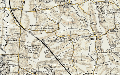 Old map of Bassingthorpe in 1902-1903