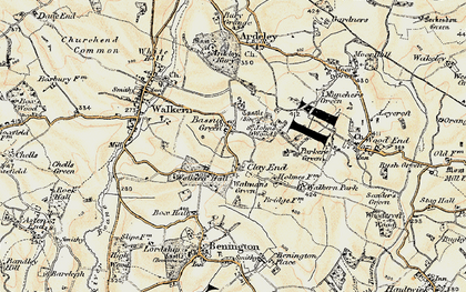 Old map of Bassus Green in 1898-1899