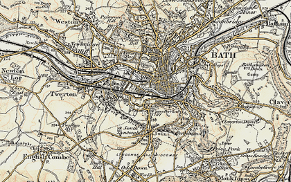 Old map of Bath in 1898-1899