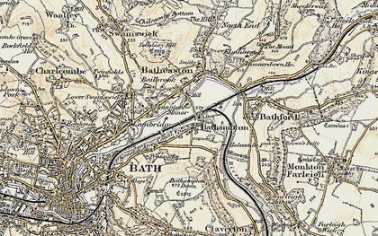 Old map of Bathampton in 1899