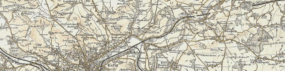 Old map of Batheaston in 1899