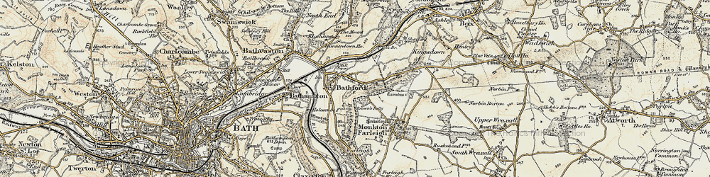 Old map of Bathford in 1899
