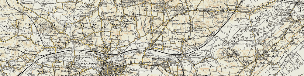 Old map of Bathpool in 1898-1900