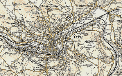 Old map of Bathwick in 1898-1899