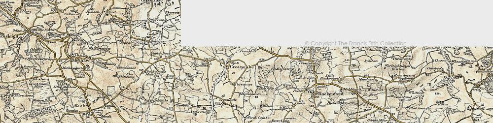 Old map of Batsworthy in 1899-1900