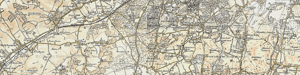Old map of Willow's Green Inclosure in 1897-1909