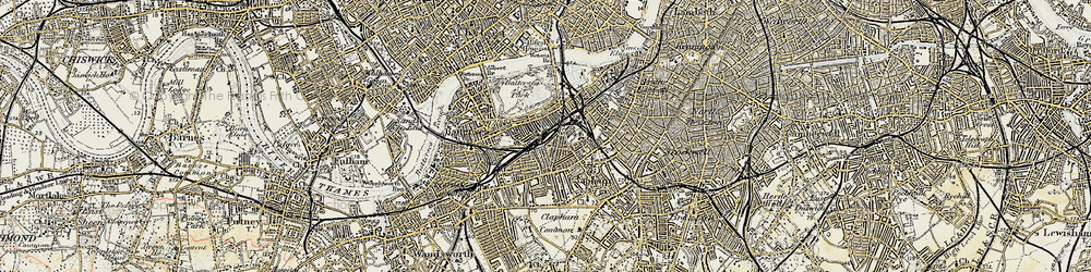 Old map of Battersea in 1897-1909