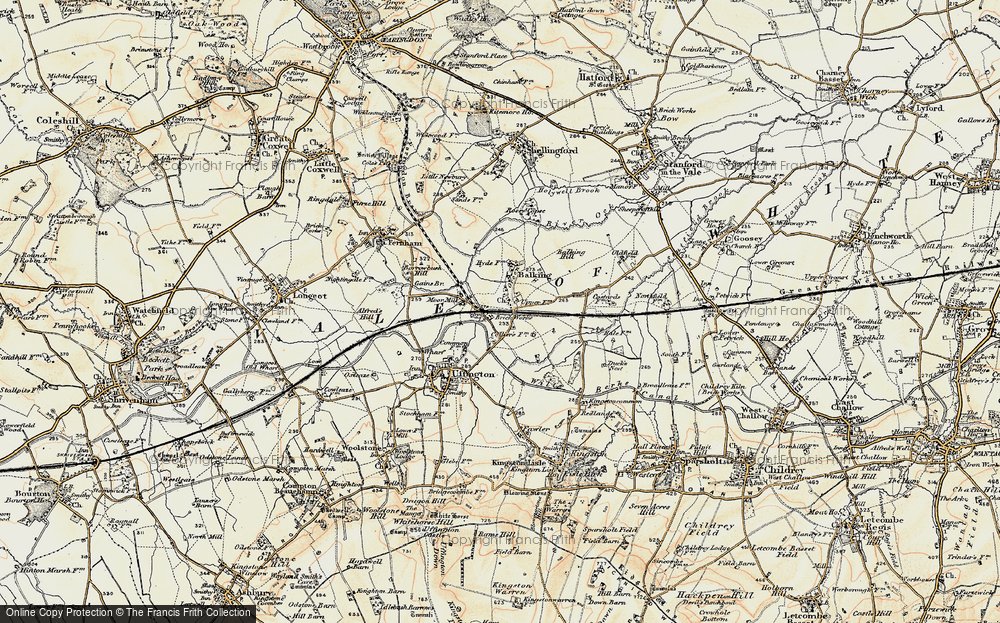 Old Map of Baulking, 1897-1899 in 1897-1899