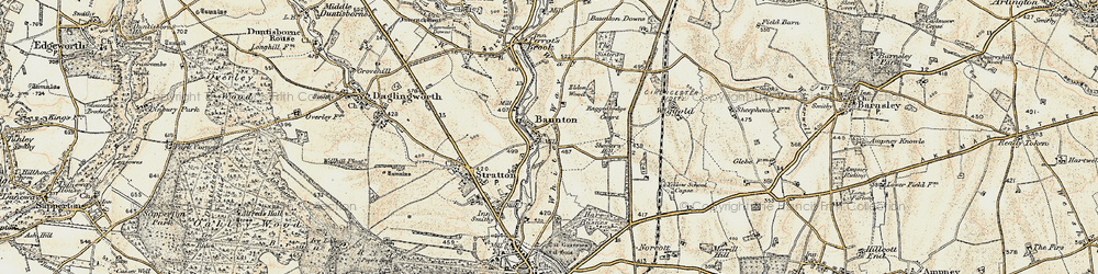 Old map of Wiggold in 1898-1899