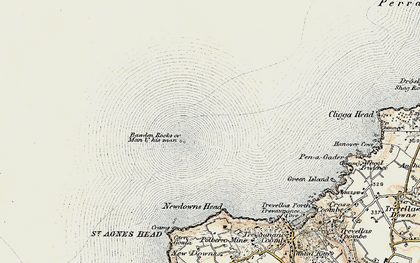 Old map of Bawden Rocks in 1900