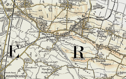 Old map of Bawdrip in 1898-1900