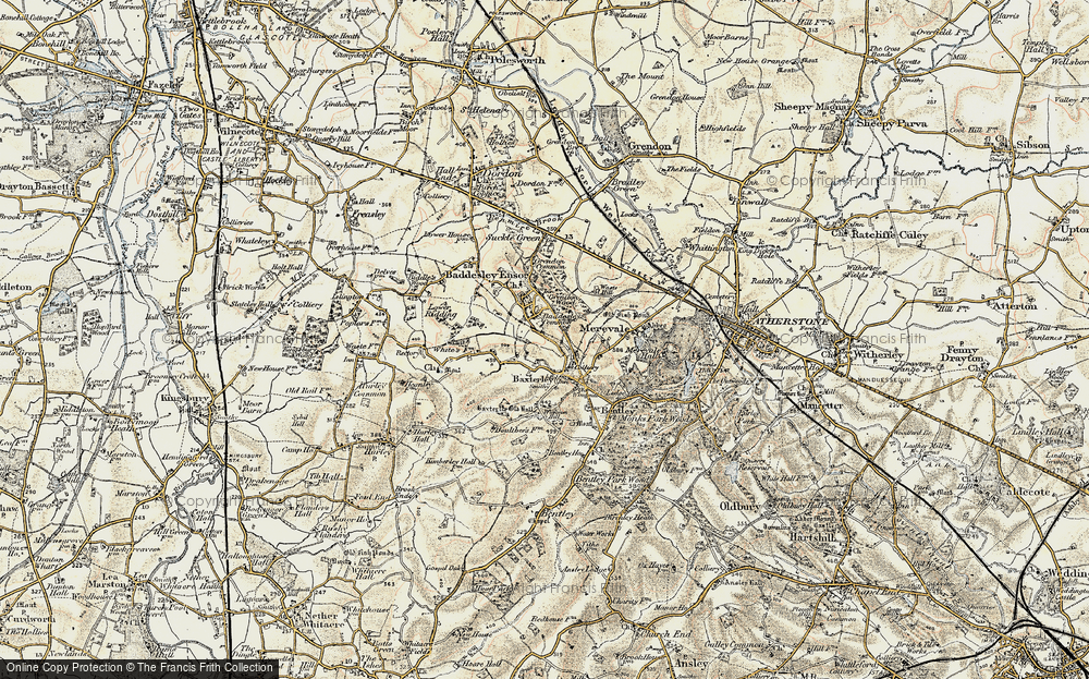 Old Map of Historic Map covering Baddesley Common in 1901-1902