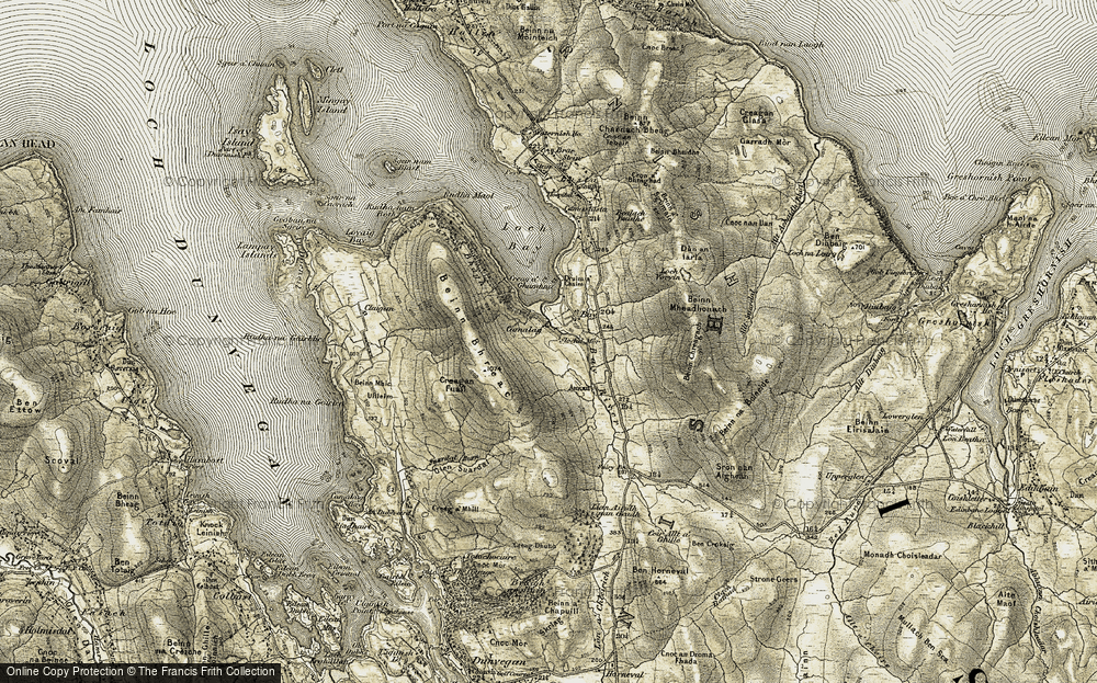 Old Map of Historic Map covering Allt Suardal in 1909-1911