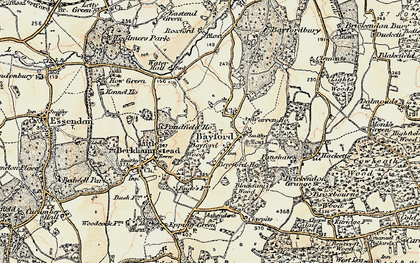 Old map of Bayford in 1898
