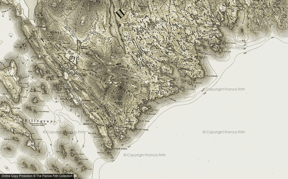 Old Map of Historic Map covering Abhainn Collam in 1908-1911