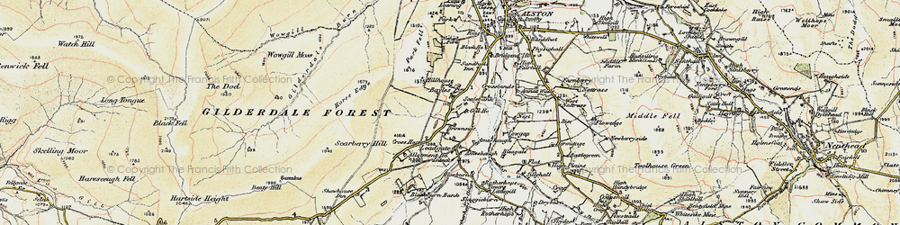 Old map of Woldgill Moss in 1903-1904