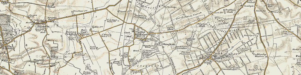 Old map of Beachamwell in 1901-1902
