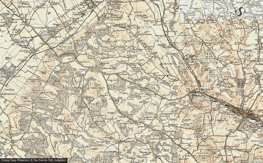 Old Map of Beacon's Bottom, 1897-1898 in 1897-1898