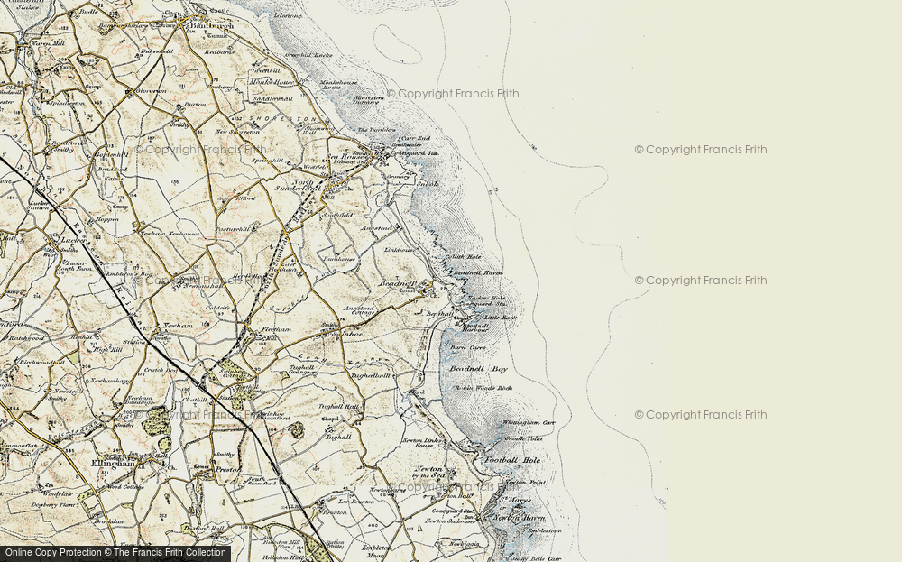 Old Map of Beadnell, 1901-1903 in 1901-1903