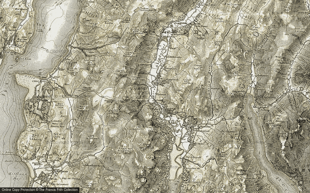 Old Map of Historic Map covering Auchnagarron in 1905-1907