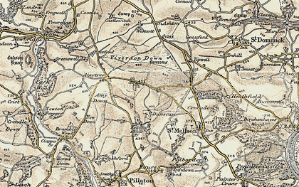 Old map of Bealbury in 1899-1900