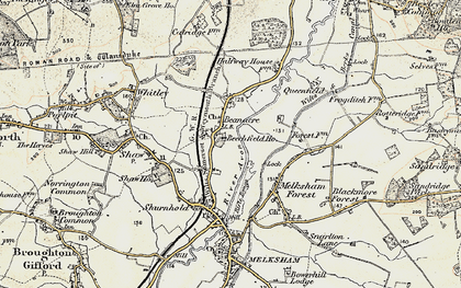 Old map of Beanacre in 1898-1899