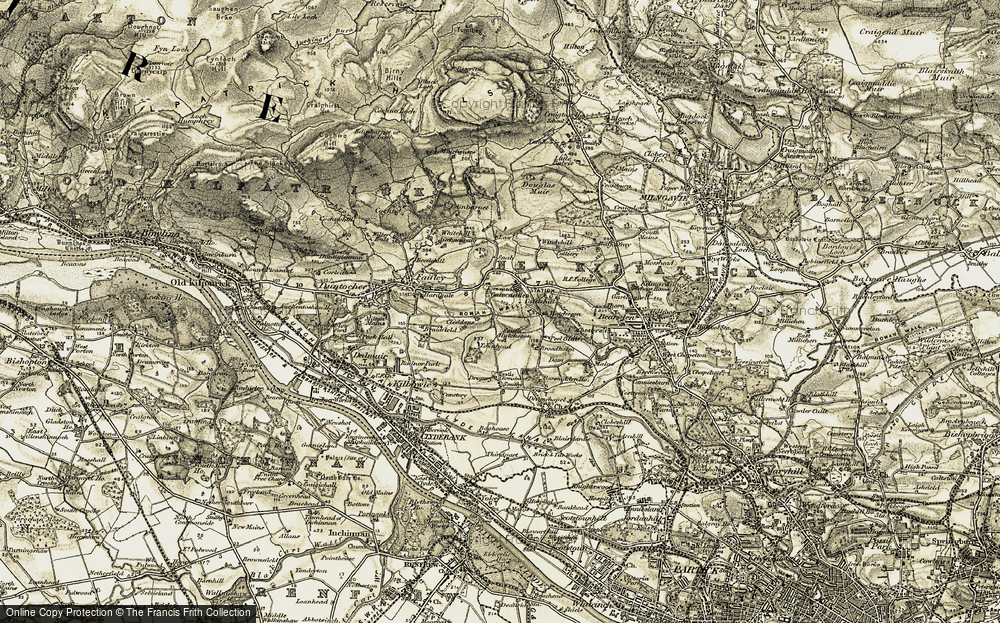 Old Map of Historic Map covering Law in 1904-1905