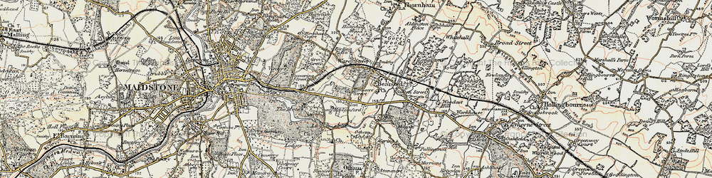 Old map of Bearsted in 1897-1898