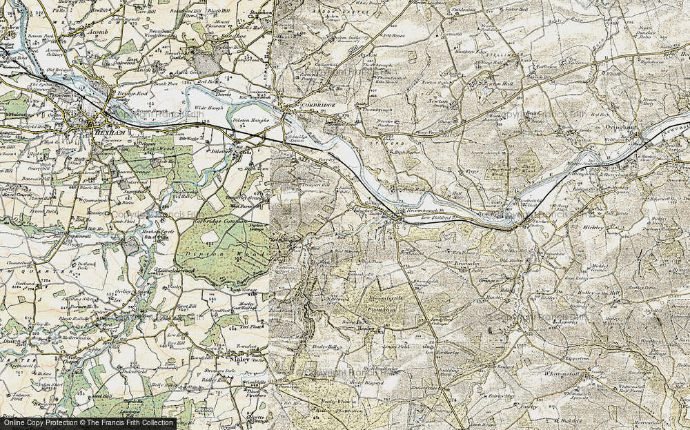 Old Map of Historic Map covering White Hemmels in 1901-1904