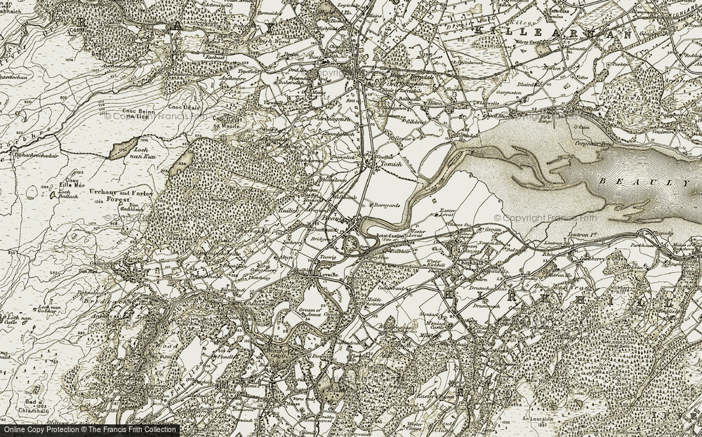 Old Map of Historic Map covering Balblair Ho in 1911-1912