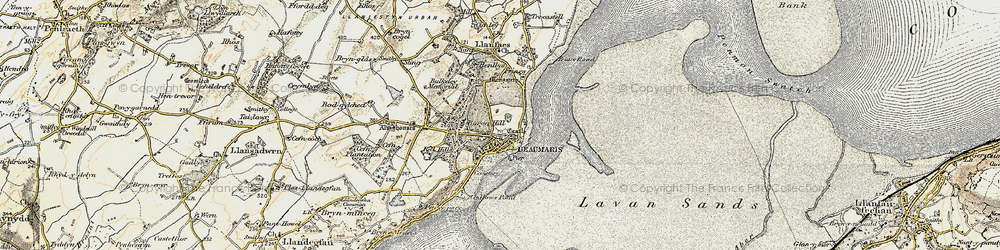 Old map of Beaumaris in 1903-1910