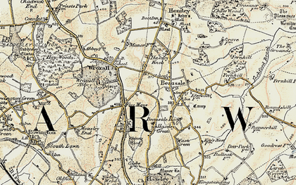 Old map of Beausale in 1901-1902