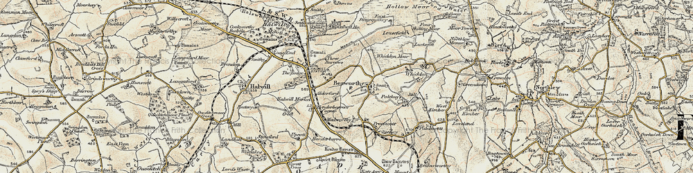 Old map of Whiddon Moor in 1900