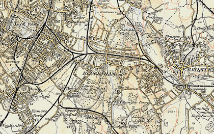 Old map of Beckenham in 1897-1902