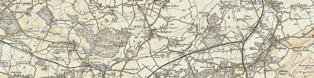 Old map of Beckington in 1898-1899