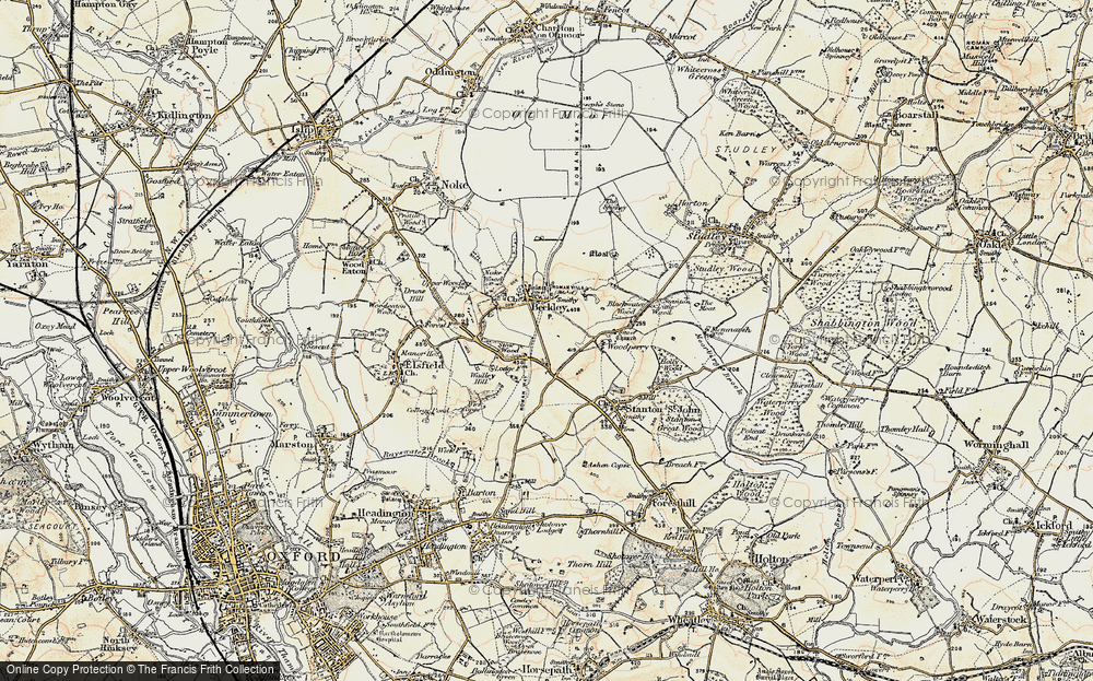 Old Map of Historic Map covering Woodperry in 1898-1899