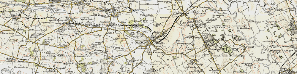 Old map of Bedale in 1904