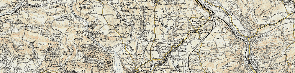 Old map of Beddau in 1899-1900