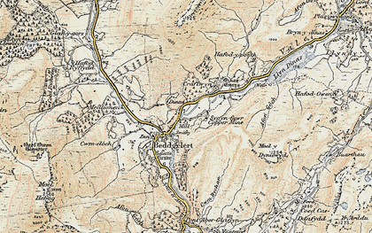Old map of Beddgelert in 1903