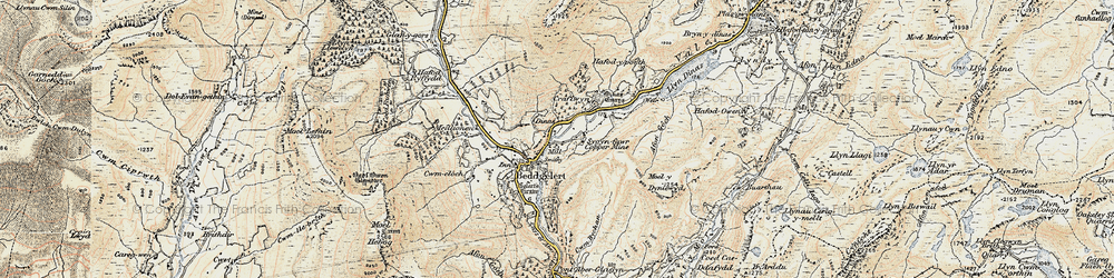Old map of Beddgelert in 1903